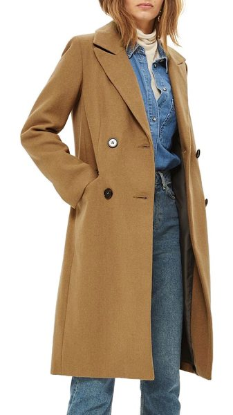 Topshop editors double breasted coat in camel