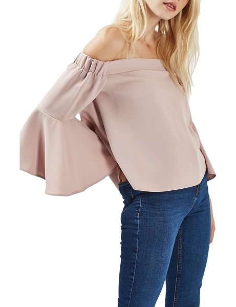 Topshop ella off the shoulder top in pink - Pretty, lightweight crepe adds to the romance of a...