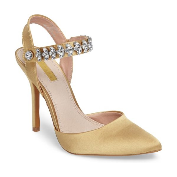 Topshop embellished ankle strap pump in gold - Bring the bling with a pointy-toe pump balanced on a...