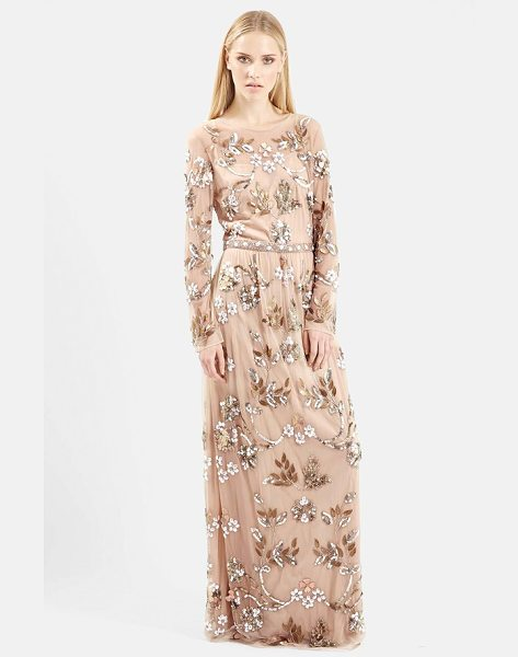 Topshop embellished illusion yoke gown in nude - Floral bouquets and leaves light up the long-sleeve...