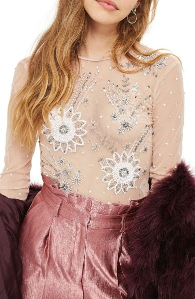 TOPSHOP embellished sheer bodysuit - Precisely placed sequins and jewels burst with light...