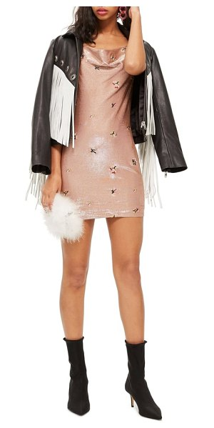 Topshop embroidered cowl neck dress in bronze - An allover bronze sheen blankets this chic cowl-neck...