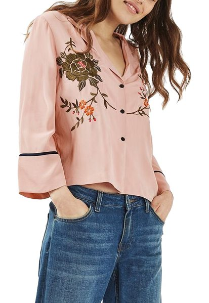 TOPSHOP embroidered kimono shirt in dark pink - How to take the retro pajama silhouette and make it even...