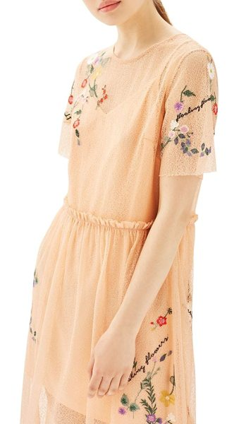 Topshop embroidered mesh midi dress in peach - Intricate mesh is embroidered with colorful flowers on...