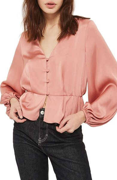 TOPSHOP emilia blouson sleeve blouse - Small tonal buttons grace the front of an elegant,...