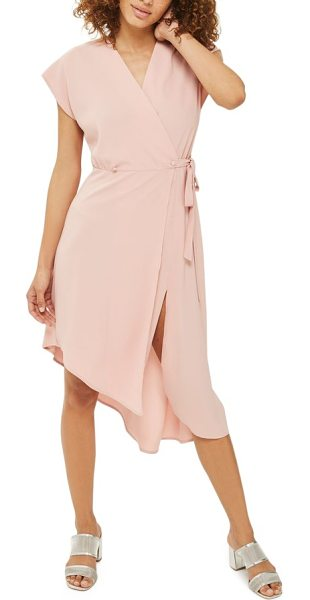 Topshop emily asymmetrical wrap dress in nude - Strut straight from work to your after-hours plans in...