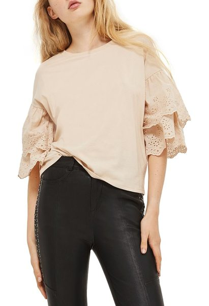 Topshop eyelet layer sleeve tee t-shirt in blush - An essential crewneck tee becomes a darling summery...