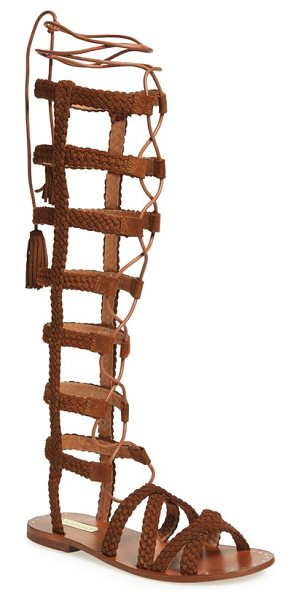 Topshop faraday lace-up gladiator sandal in tan leather
