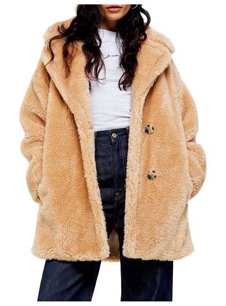 Topshop faux fur coat in beige