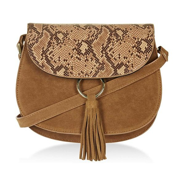 Topshop Faux suede saddle bag in tan