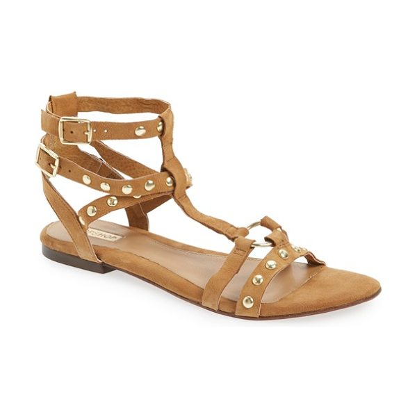 Topshop fire studded gladiator sandal in tan leather - Polished studs and harness hardware play up the retro...