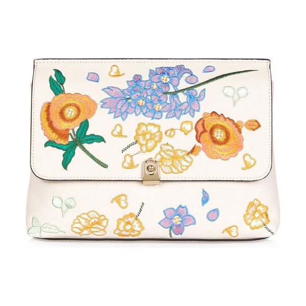 Topshop floral embroidered faux leather clutch in stone multi - Meet the girls for Sunday tea and bring spring with you...