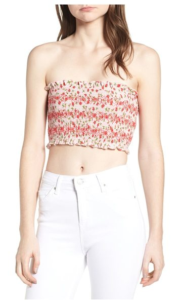 Topshop floral print tube top in pink multi - Sweet smocking textures this strapless crop top that's...