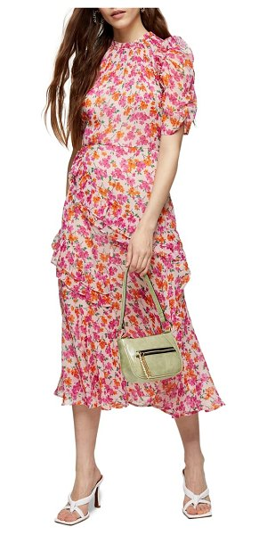Topshop floral ruffle midi dress in pink