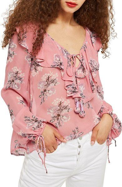 Topshop floral ruffle pompom blouse in pink multi - This airy floral-print blouse is sweetly embellished...