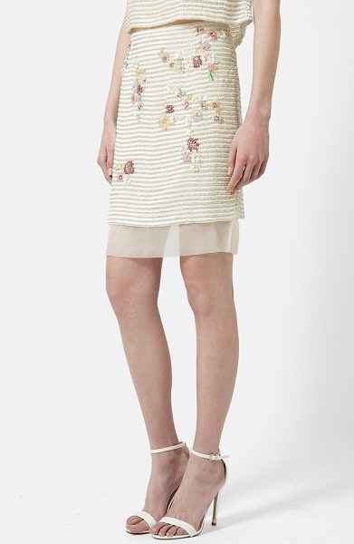 Topshop floral stripe pencil skirt in cream multi - An underlay of sheer organza flutters beneath the...