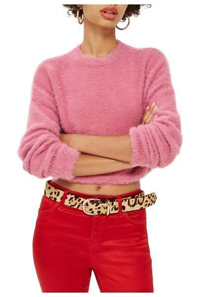 Topshop fluffy crop sweater in pink - Fluttering feather-chenille yarn creates a soft, fuzzy...