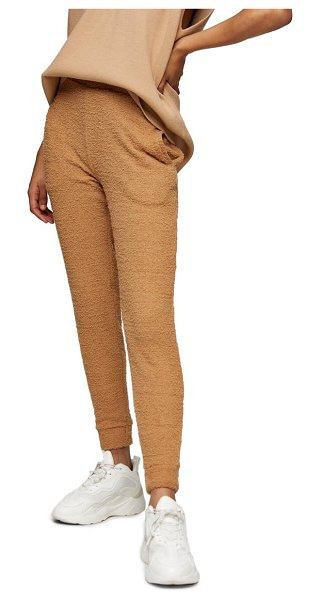 Topshop fluffy joggers in taupe