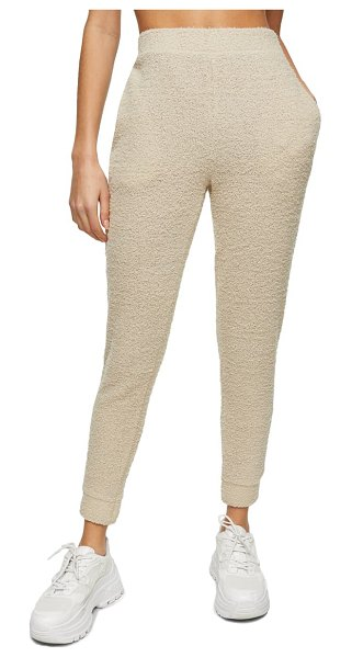 Topshop fluffy joggers in beige