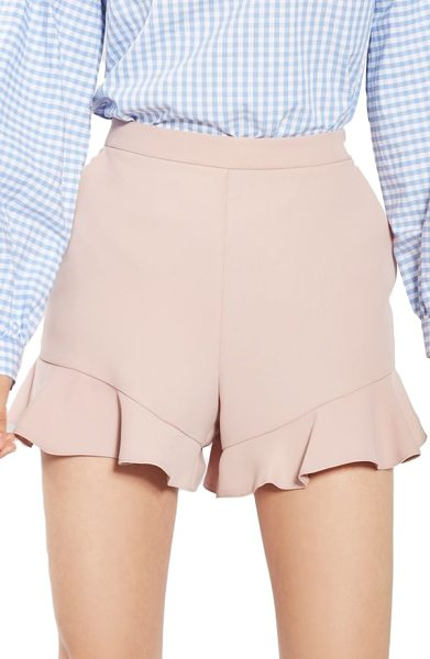 Topshop frill hem shorts in blush - Ruffled, angled hemlines give a girly finish to...