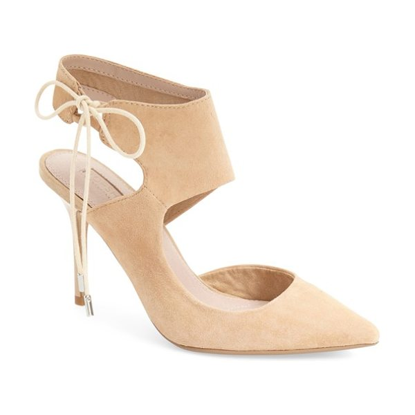 Topshop gallery pointy toe pump in nude - A wide ankle strap and lush suede finish heighten the...