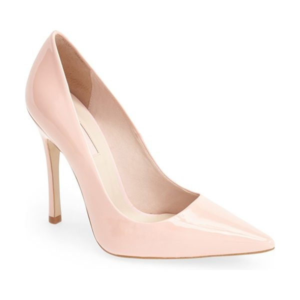 Topshop gallop patent pointy toe pump in pink - A classic pointy-toe pump is crafted from gleaming...