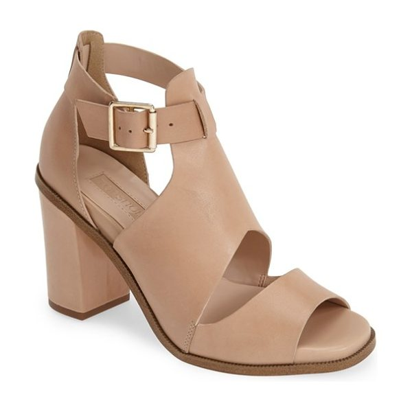 Topshop gambas cutout leather sandal in nude - A chunky half-moon heel supports a modern leather sandal...