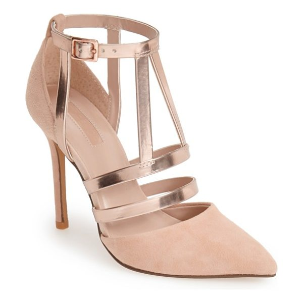 Topshop geneva strappy mixed media pump in nude - Flashy cutout straps accent the vamp of a soft suede,...