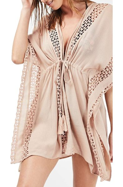 TOPSHOP geo trim cover-up caftan in nude - Triangle crochet borders a light and crinkly caftan that...