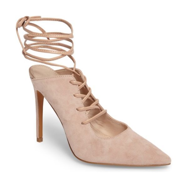 Topshop giggle ghillie pump in nude - Ghillie lacing puts a trend-savvy twist on a shapely...