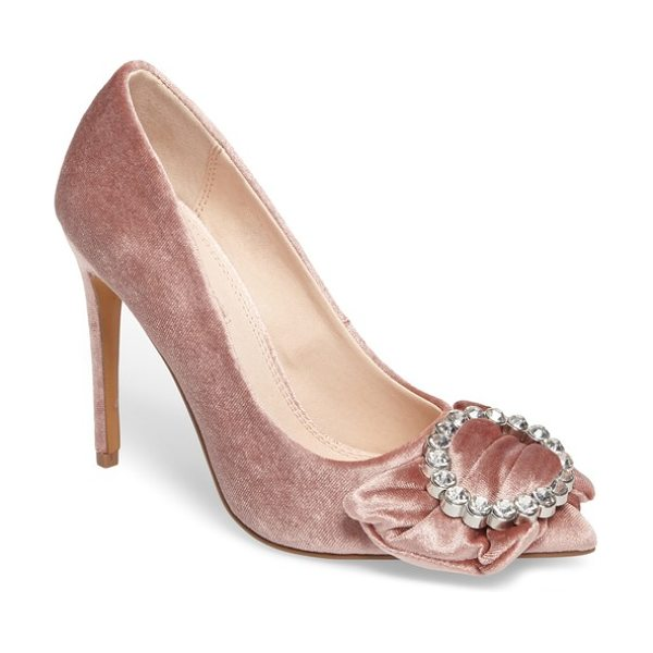 Topshop glamorous bow court pump in blush - A dazzling bejeweled buckle makes a grand statement on...