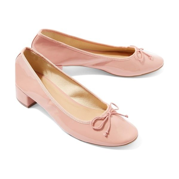 Topshop glory heeled ballerina slippers in pink - A low block heel adds a little height and a lot of fresh...