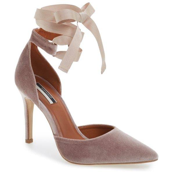 Topshop graceful ankle tie d'orsay pump in nude - A pretty grosgrain ribbon tops this beautifully lush...