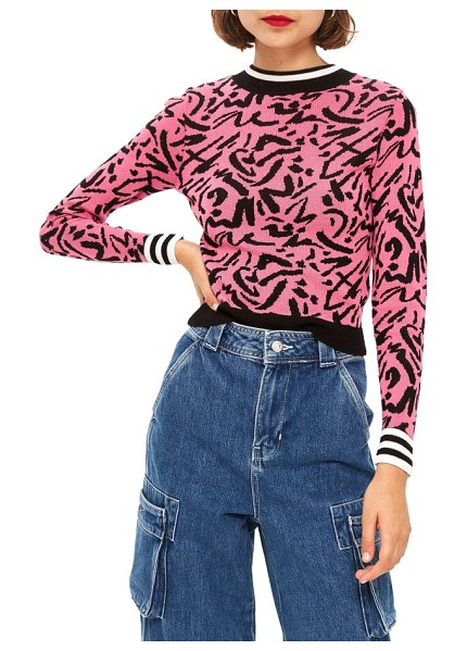 Topshop graffiti jacquard sweater in pink - Abstract jacquard patterning amplifies the street-chic...