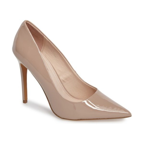 Topshop grammer pointy toe pump in nude - Keep your look impeccably classic with a smooth,...