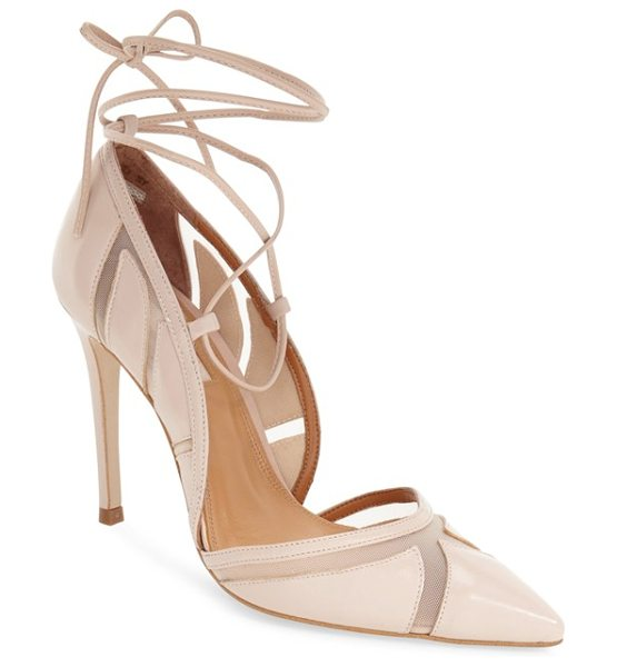 Topshop gretchen ankle tie pointy toe pump in nude - Mesh insets deliver ultra-sultry style to a svelte...