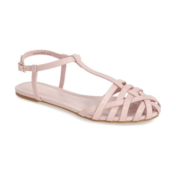 Topshop habi t-strap flat sandals in pink - An iridescent shimmer illuminates the slender straps of...