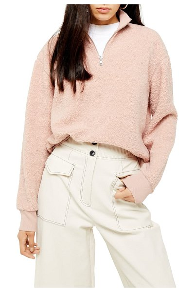 Topshop half zip funnel neck sweatshirt in pink