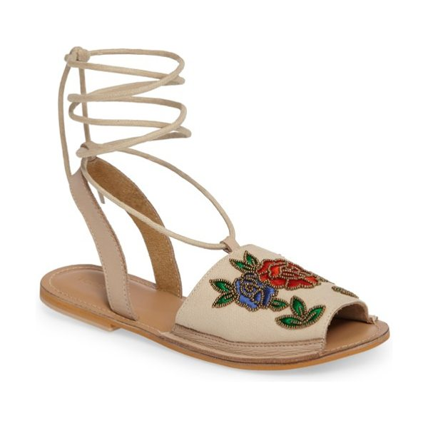 Topshop halle embroidered sandal in nude - Bronze beads glisten while embroidered roses entrance...