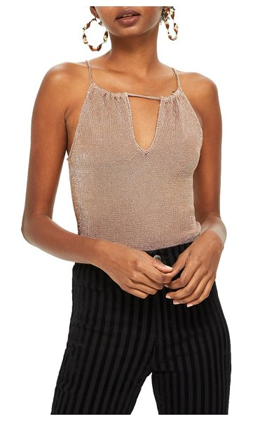 Topshop halter camisole in rose gold - A plunging keyhole neckline adds a flattering finishing...