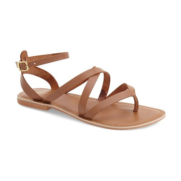 Topshop hercules strappy leather thong sandal in tan - A flat leather thong sandal is styled with crisscrossing...