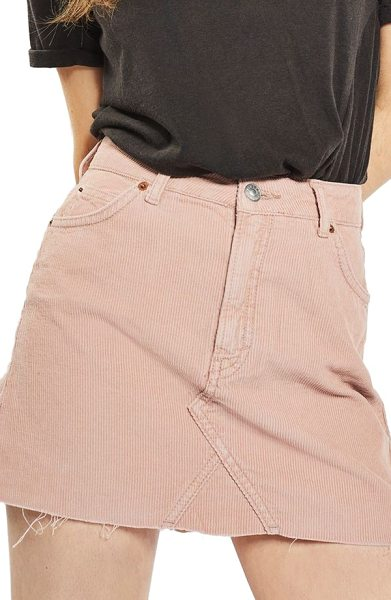 Topshop high rise corduroy miniskirt in pink - A cutoff miniskirt is perfect for fall through winter...