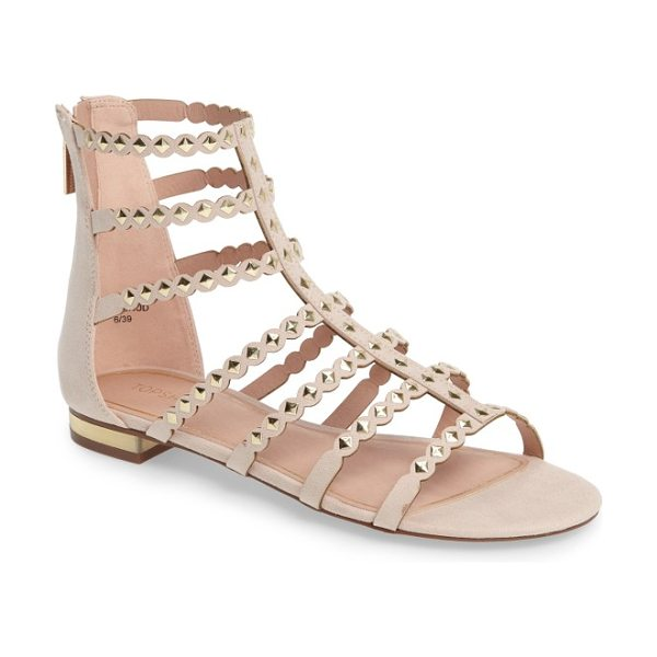 Topshop higher stud gladiator sandal in nude - Get the complete weekend-warrior uniform with faux suede...