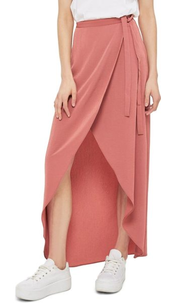 Topshop high/low wrap maxi skirt in rose - Retain effortless elegance day or night in this fluttery...