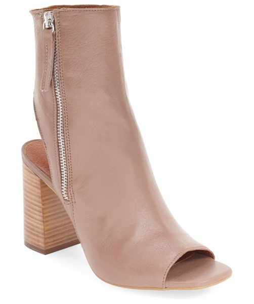 Topshop 'home' peep toe boot in blush leather - A curved, cutout back and stacked block heel extend the...