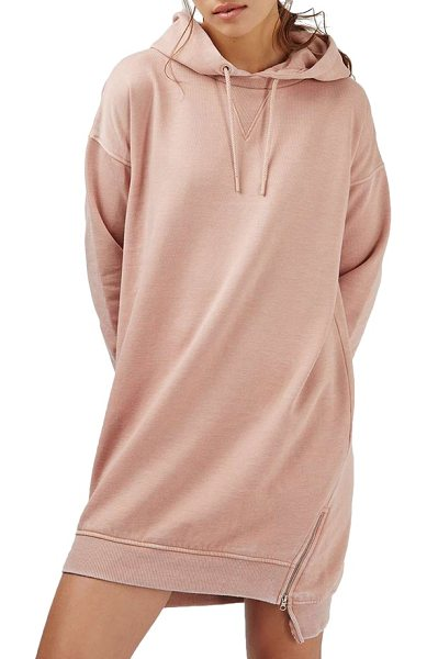 Topshop hooded sweatshirt dress in pink - Zips at the hemline add a modern touch to a casual,...