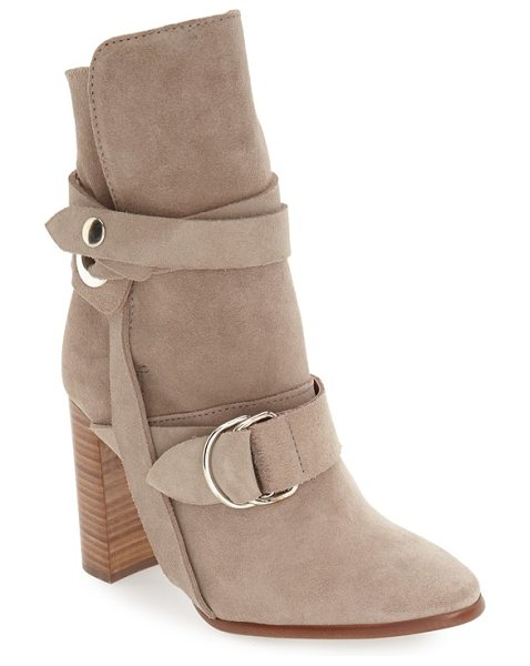 Topshop 'hottie' strap bootie in beige suede - Straps and more straps bridge the instep and embrace the...