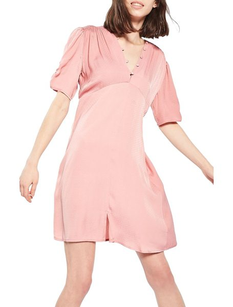 Topshop jacquard tea dress in pink - Sateen jacquard and gathered details add retro charm to...