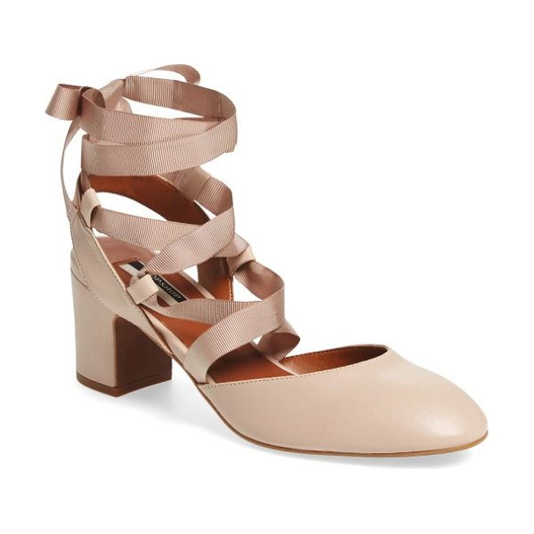 Topshop jostle wraparound ballet pump in nude - Grosgrain ribbons wrap around the ankle of a block-heel...