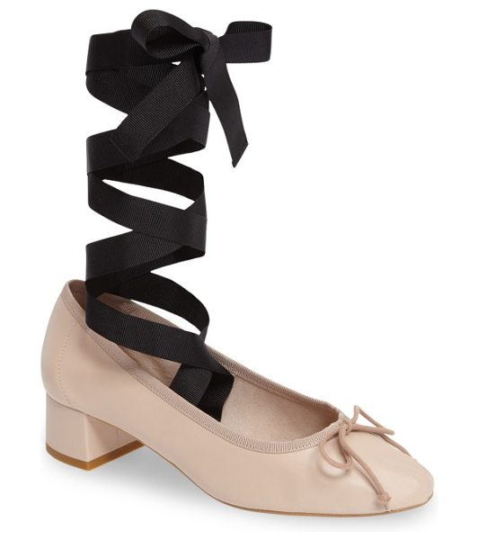 TOPSHOP kan-kan ankle tie pump in nude leather - Wide grosgrain ribbons wrap around your ankle and extend...